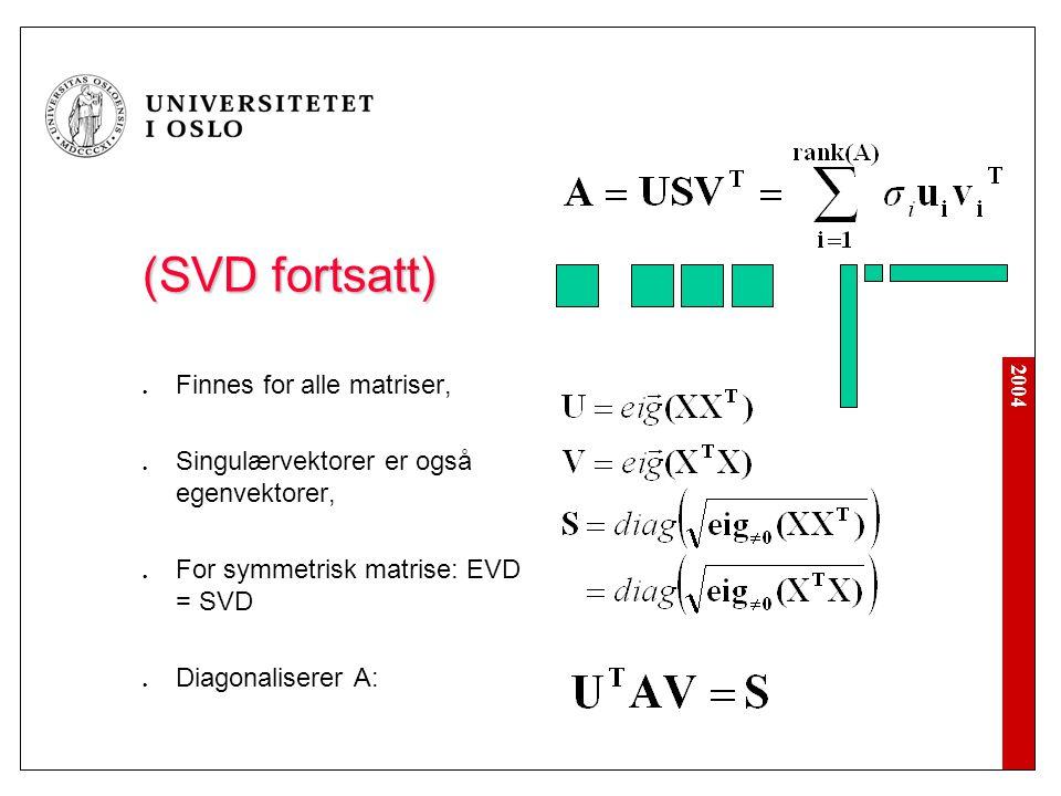 2004 (SVD fortsatt) Finnes for alle matriser, Singulærvektorer er også egenvektorer, For symmetrisk matrise: EVD = SVD Diagonaliserer A: