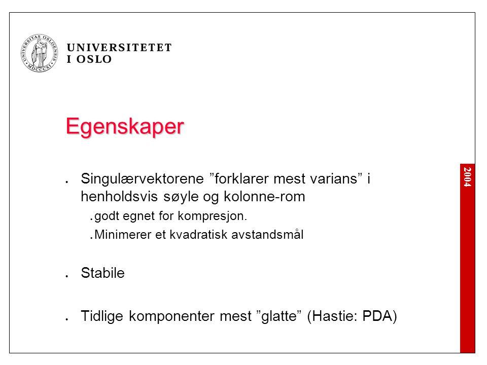 2004 Egenskaper Singulærvektorene forklarer mest varians i henholdsvis søyle og kolonne-rom godt egnet for kompresjon.