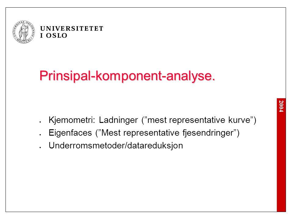 """2004 Prinsipal-komponent-analyse. Kjemometri: Ladninger (""""mest representative kurve"""") Eigenfaces (""""Mest representative fjesendringer"""") Underromsmetode"""