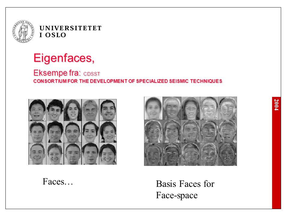 2004 Eigenfaces, Eksempe fra: CDSST CONSORTIUM FOR THE DEVELOPMENT OF SPECIALIZED SEISMIC TECHNIQUES Faces… Basis Faces for Face-space