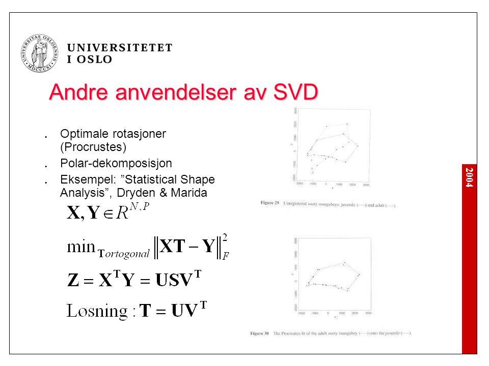 2004 Andre anvendelser av SVD Optimale rotasjoner (Procrustes) Polar-dekomposisjon Eksempel: Statistical Shape Analysis , Dryden & Marida
