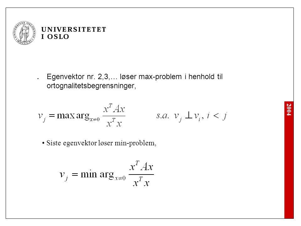 2004 Egenvektor nr. 2,3,… løser max-problem i henhold til ortognalitetsbegrensninger, Siste egenvektor løser min-problem,