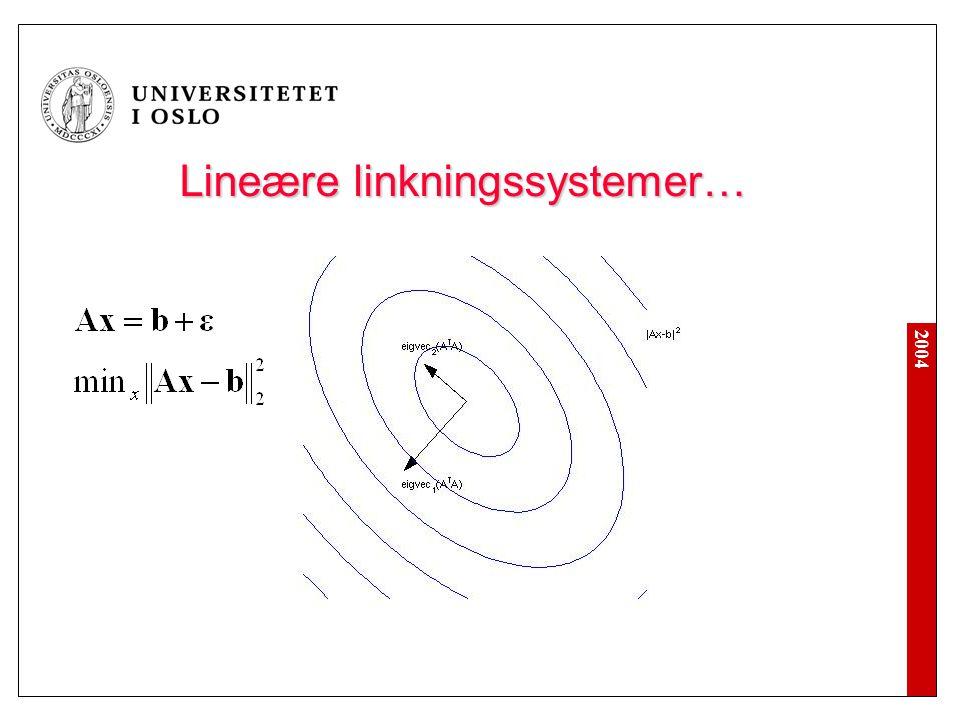 2004 Lineære linkningssystemer… Lineære linkningssystemer…