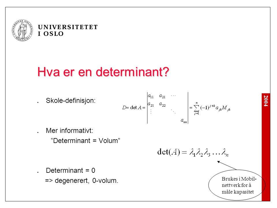 """2004 Hva er en determinant? Skole-definisjon: Mer informativt: """"Determinant = Volum"""" Determinant = 0 => degenerert, 0-volum. Brukes i Mobil- nettverk"""