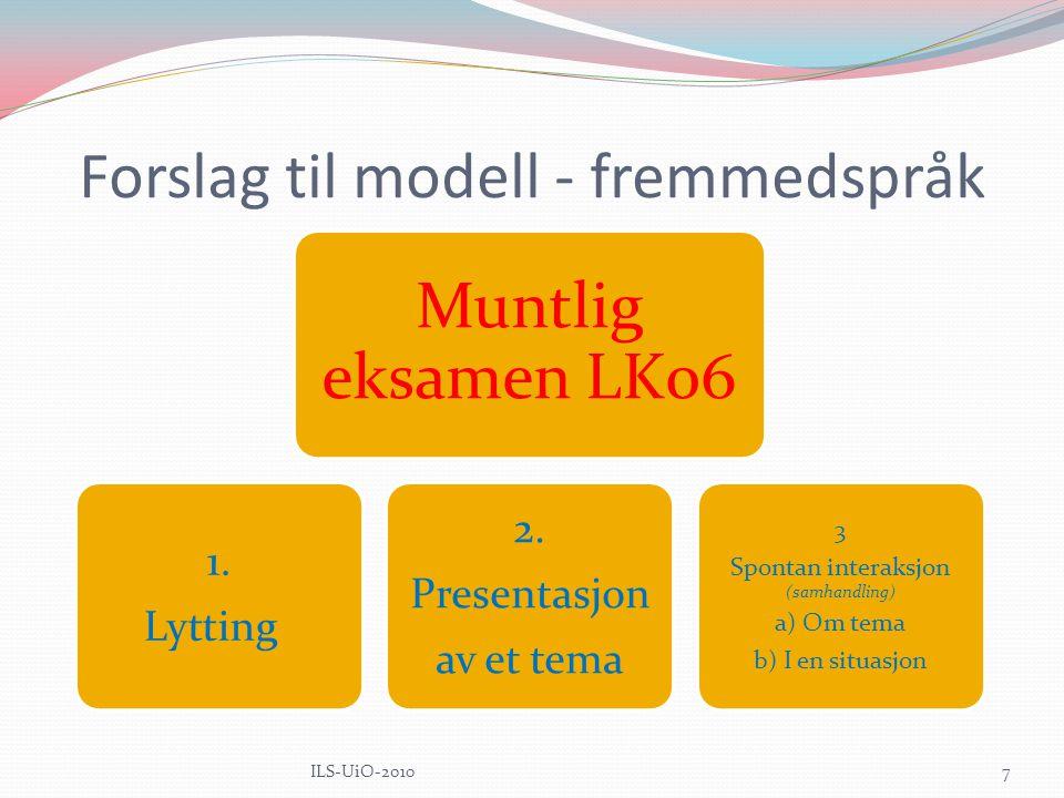 Forslag til modell - fremmedspråk Muntlig eksamen LK06 1.