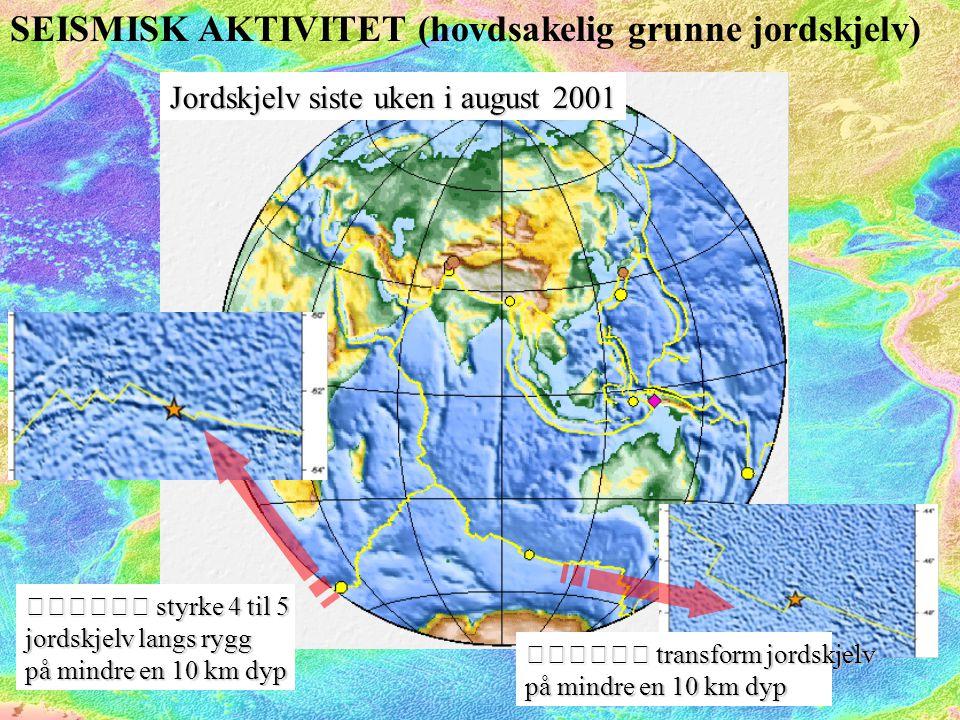 SEISMISK AKTIVITET (hovdsakelig grunne jordskjelv) Jordskjelv siste uken i august 2001  styrke 4 til 5 jordskjelv langs rygg på mindre en 10 km dyp  transform jordskjelv på mindre en 10 km dyp