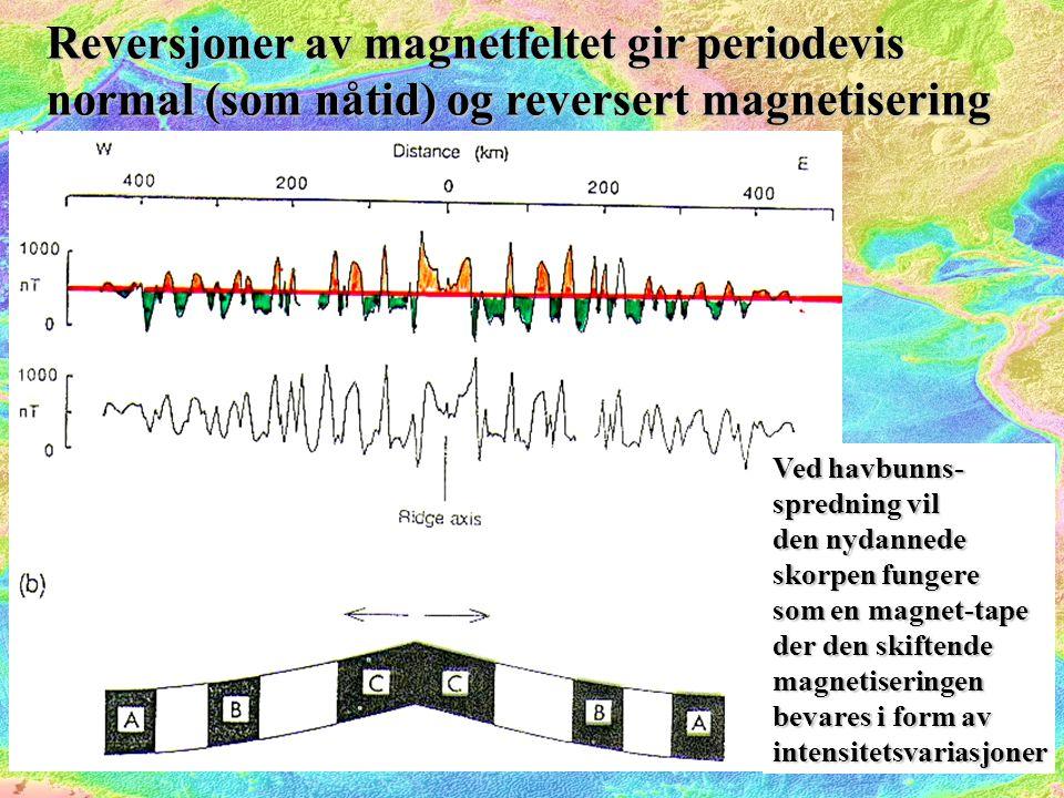 Reversjoner av magnetfeltet gir periodevis normal (som nåtid) og reversert magnetisering Ved havbunns- spredning vil den nydannede skorpen fungere som en magnet-tape der den skiftende magnetiseringen bevares i form av intensitetsvariasjoner