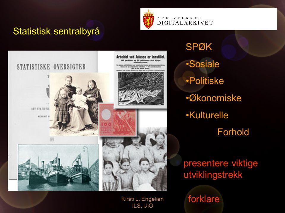 Kirsti L. Engelien ILS, UiO Statistisk sentralbyrå presentere viktige utviklingstrekk forklare SPØK Sosiale Politiske Økonomiske Kulturelle Forhold