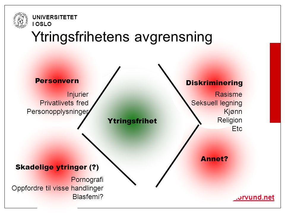 © Olav Torvund - SENTER FOR RETTSINFORMATIKK UNIVERSITETET I OSLO http://www.torvund.net Ytringsfrihet Annet.