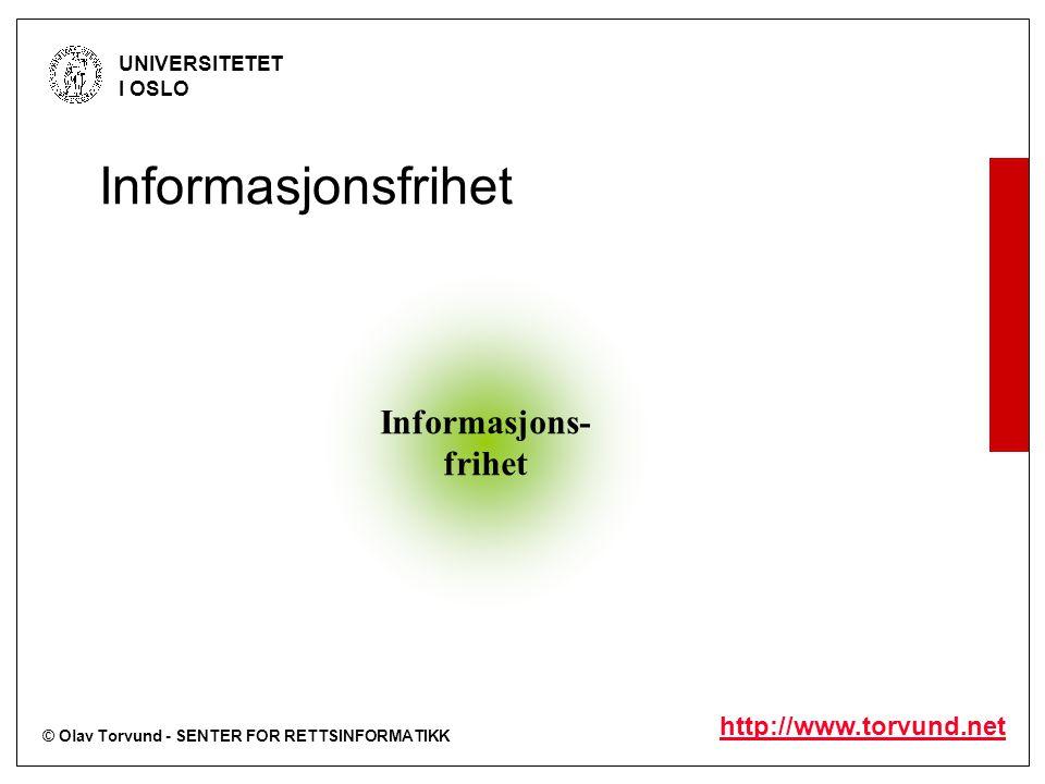 © Olav Torvund - SENTER FOR RETTSINFORMATIKK UNIVERSITETET I OSLO http://www.torvund.net Informasjons- frihet Informasjonsfrihet