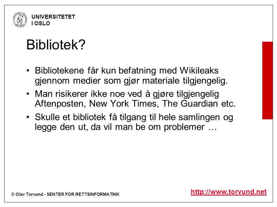 © Olav Torvund - SENTER FOR RETTSINFORMATIKK UNIVERSITETET I OSLO http://www.torvund.net Bibliotek.