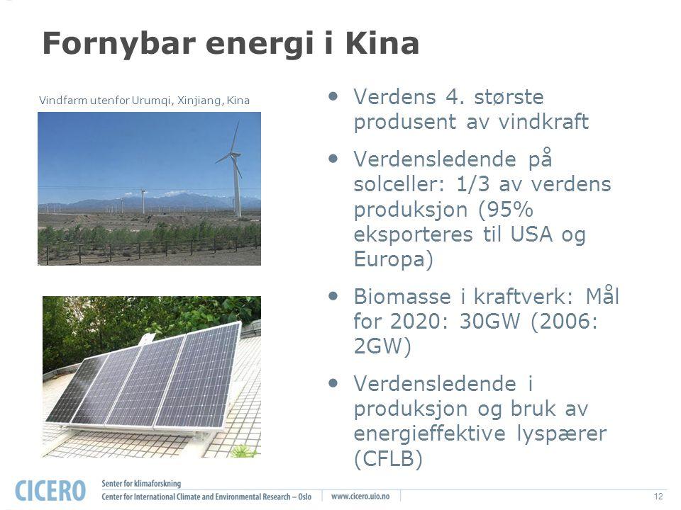 12 Fornybar energi i Kina Verdens 4.
