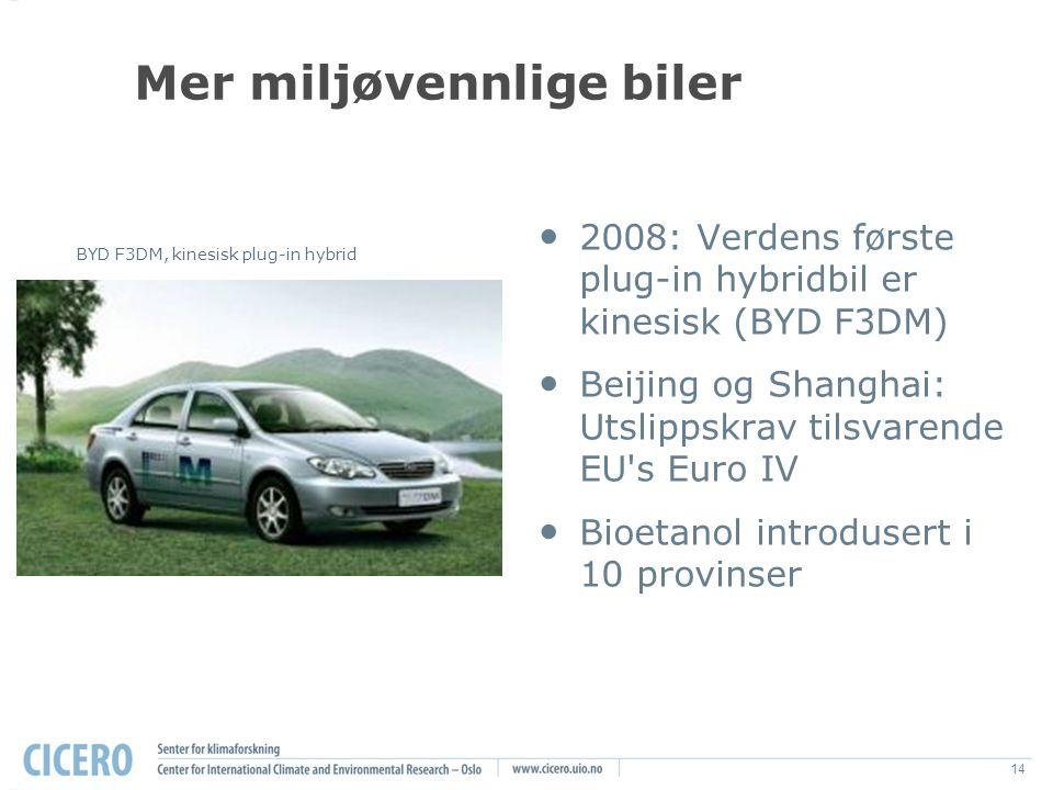 14 Mer miljøvennlige biler 2008: Verdens første plug-in hybridbil er kinesisk (BYD F3DM) Beijing og Shanghai: Utslippskrav tilsvarende EU s Euro IV Bioetanol introdusert i 10 provinser BYD F3DM, kinesisk plug-in hybrid