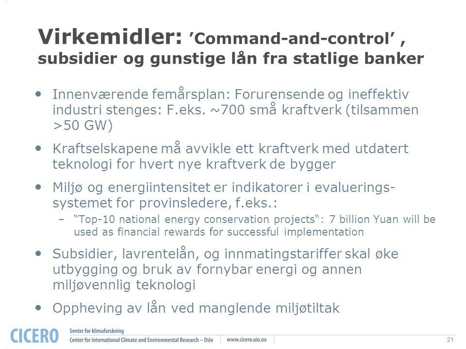 21 Virkemidler: 'Command-and-control', subsidier og gunstige lån fra statlige banker Innenværende femårsplan: Forurensende og ineffektiv industri stenges: F.eks.