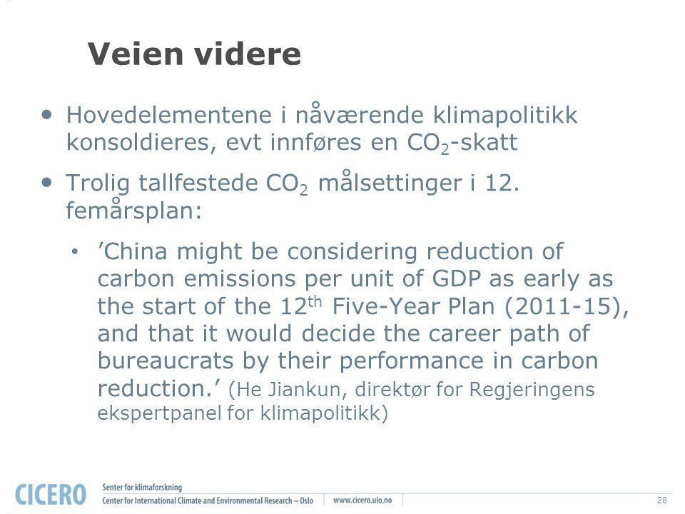 28 Veien videre Hovedelementene i nåværende klimapolitikk konsoldieres, evt innføres en CO 2 -skatt Trolig tallfestede CO 2 målsettinger i 12.