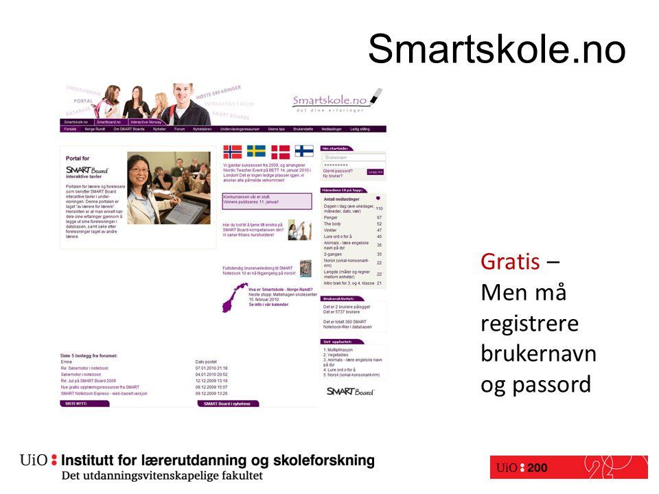 Smartskole.no Gratis – Men må registrere brukernavn og passord Smartskole.no