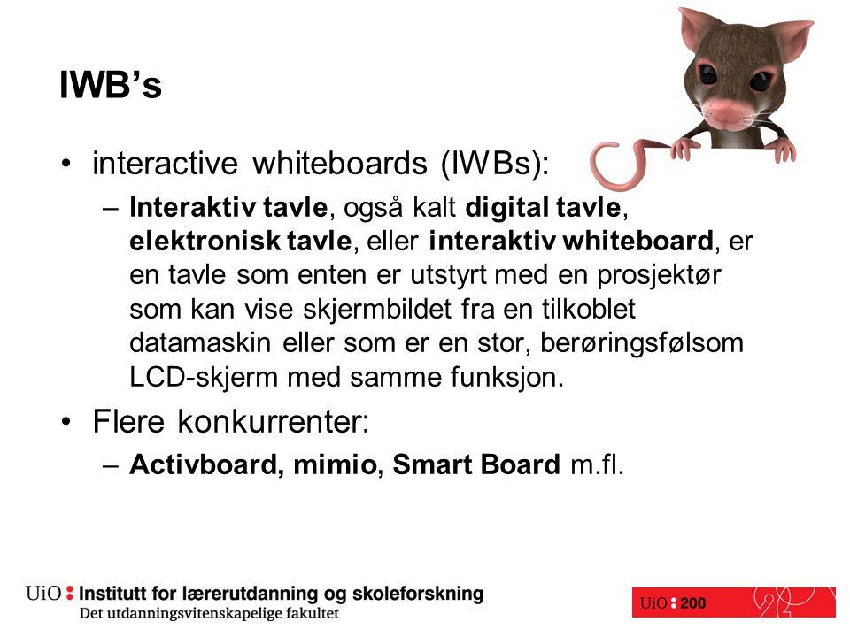 IWB's interactive whiteboards (IWBs): –Interaktiv tavle, også kalt digital tavle, elektronisk tavle, eller interaktiv whiteboard, er en tavle som enten er utstyrt med en prosjektør som kan vise skjermbildet fra en tilkoblet datamaskin eller som er en stor, berøringsfølsom LCD-skjerm med samme funksjon.