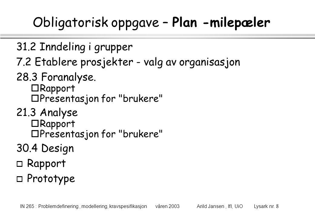 IN 265 : Problemdefinering, modellering, kravspesifikasjon våren 2003 Arild Jansen, IfI, UiO Lysark nr.