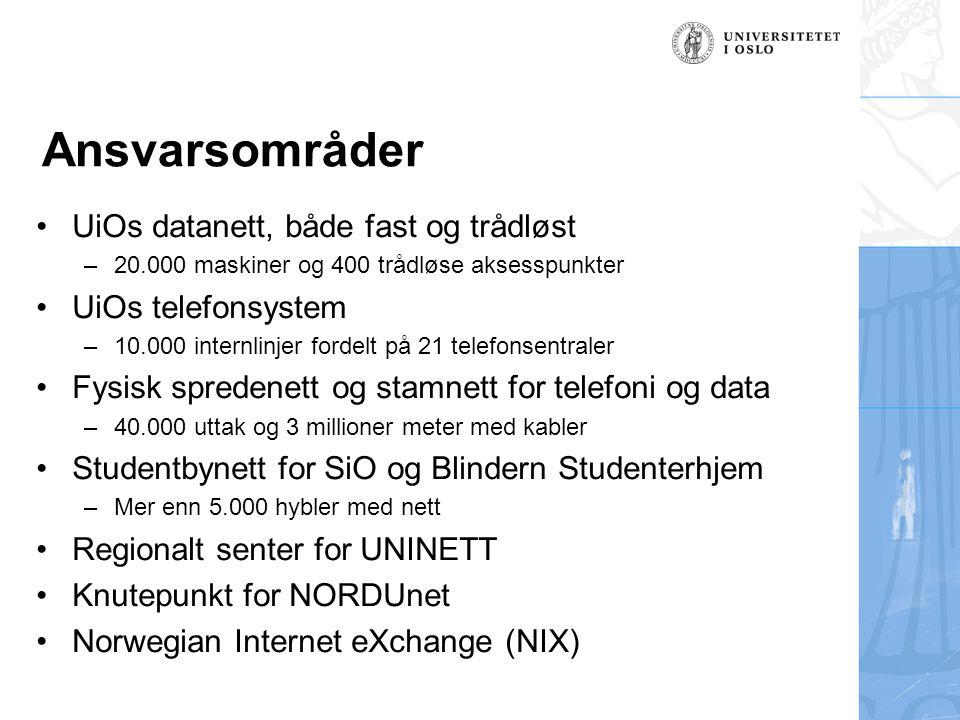 Ansvarsområder UiOs datanett, både fast og trådløst –20.000 maskiner og 400 trådløse aksesspunkter UiOs telefonsystem –10.000 internlinjer fordelt på 21 telefonsentraler Fysisk spredenett og stamnett for telefoni og data –40.000 uttak og 3 millioner meter med kabler Studentbynett for SiO og Blindern Studenterhjem –Mer enn 5.000 hybler med nett Regionalt senter for UNINETT Knutepunkt for NORDUnet Norwegian Internet eXchange (NIX)
