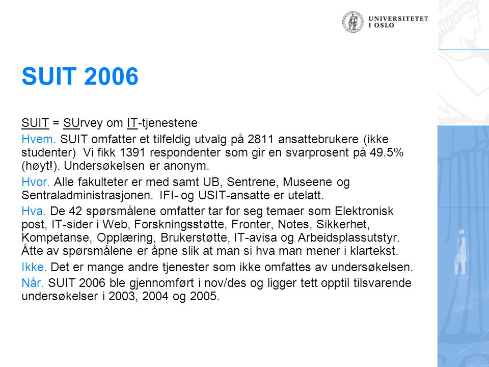 SUIT 2006 SUIT = SUrvey om IT-tjenestene Hvem.