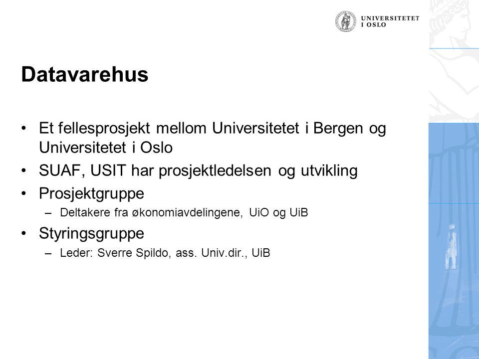 Datavarehus Et fellesprosjekt mellom Universitetet i Bergen og Universitetet i Oslo SUAF, USIT har prosjektledelsen og utvikling Prosjektgruppe –Deltakere fra økonomiavdelingene, UiO og UiB Styringsgruppe –Leder: Sverre Spildo, ass.