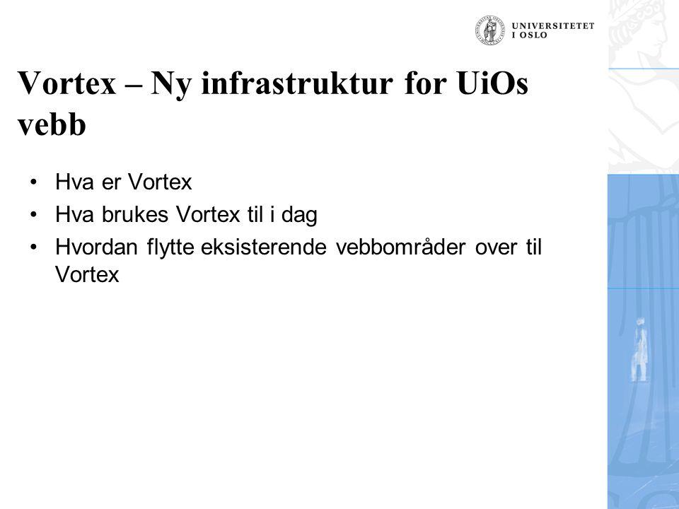 Vortex – Ny infrastruktur for UiOs vebb Hva er Vortex Hva brukes Vortex til i dag Hvordan flytte eksisterende vebbområder over til Vortex