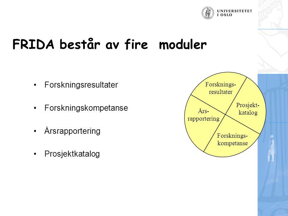 FRIDA består av fire moduler Forskningsresultater Forskningskompetanse Årsrapportering Prosjektkatalog Forsknings- resultater Forsknings- kompetanse Års- rapportering Prosjekt- katalog
