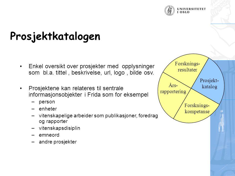 Prosjektkatalogen Enkel oversikt over prosjekter med opplysninger som bl.a.