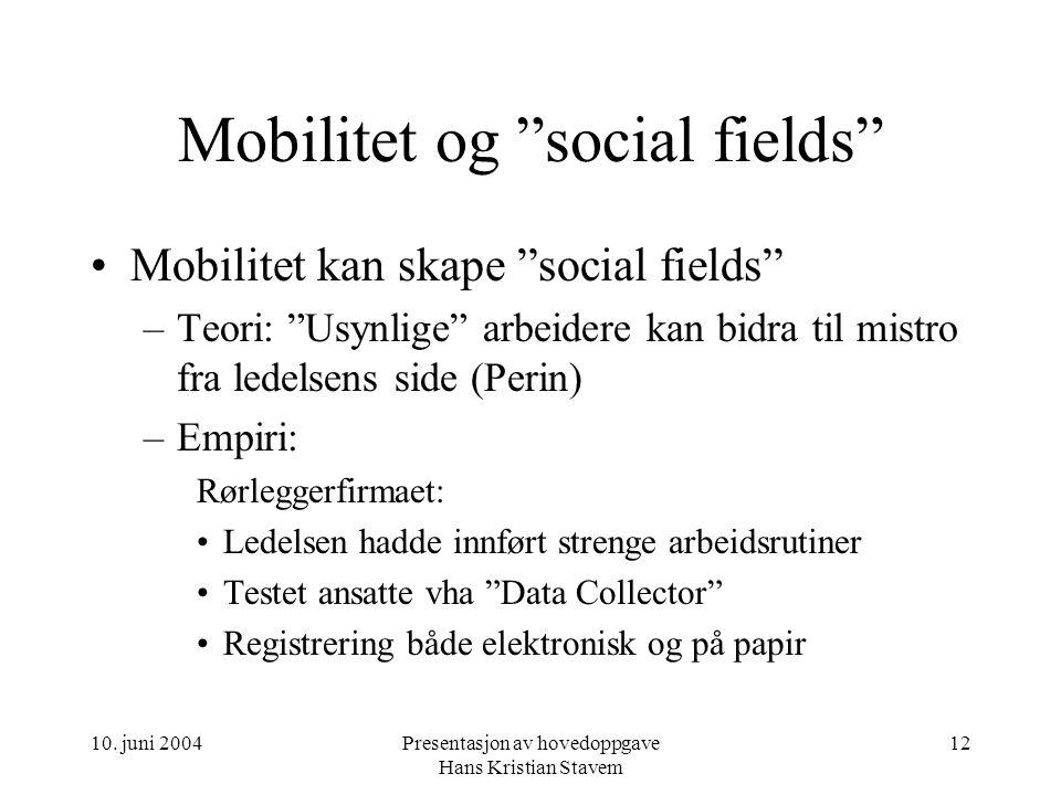 """10. juni 2004Presentasjon av hovedoppgave Hans Kristian Stavem 12 Mobilitet og """"social fields"""" Mobilitet kan skape """"social fields"""" –Teori: """"Usynlige"""""""