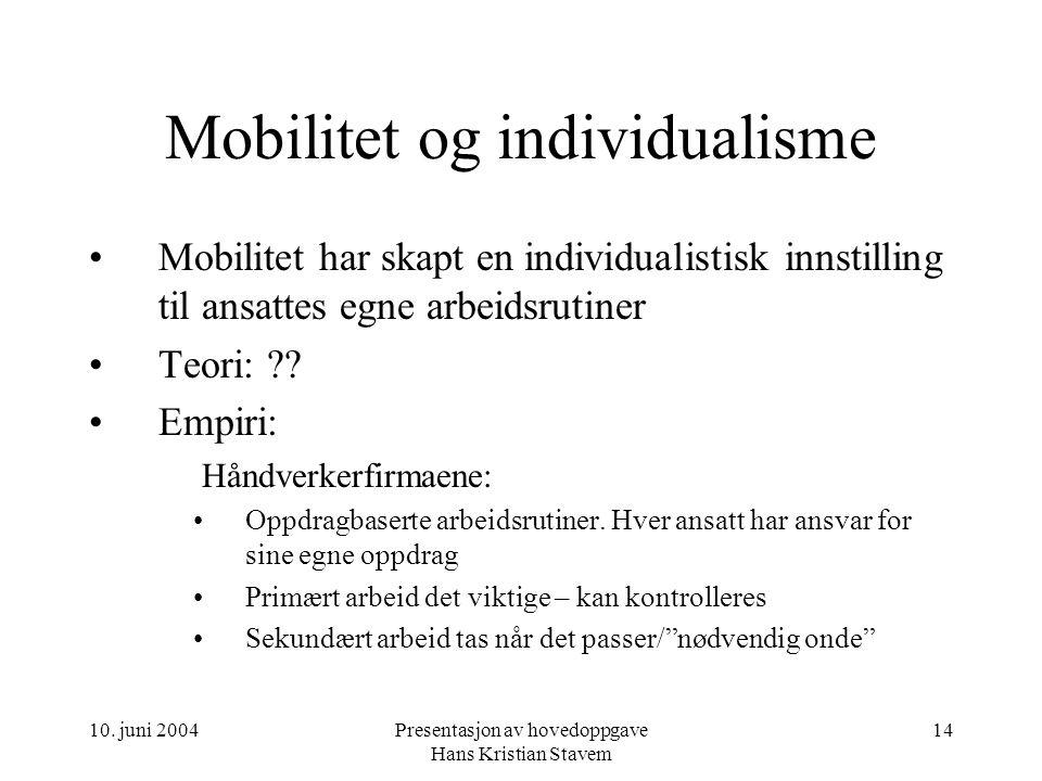 10. juni 2004Presentasjon av hovedoppgave Hans Kristian Stavem 14 Mobilitet og individualisme Mobilitet har skapt en individualistisk innstilling til