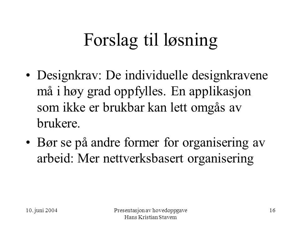 10. juni 2004Presentasjon av hovedoppgave Hans Kristian Stavem 16 Forslag til løsning Designkrav: De individuelle designkravene må i høy grad oppfylle