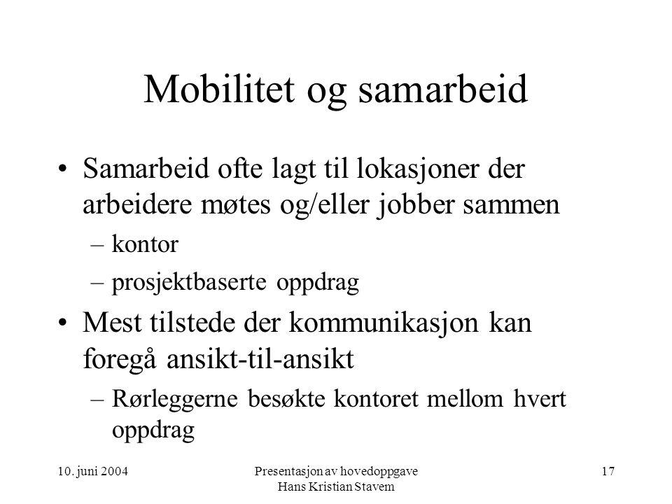 10. juni 2004Presentasjon av hovedoppgave Hans Kristian Stavem 17 Mobilitet og samarbeid Samarbeid ofte lagt til lokasjoner der arbeidere møtes og/ell
