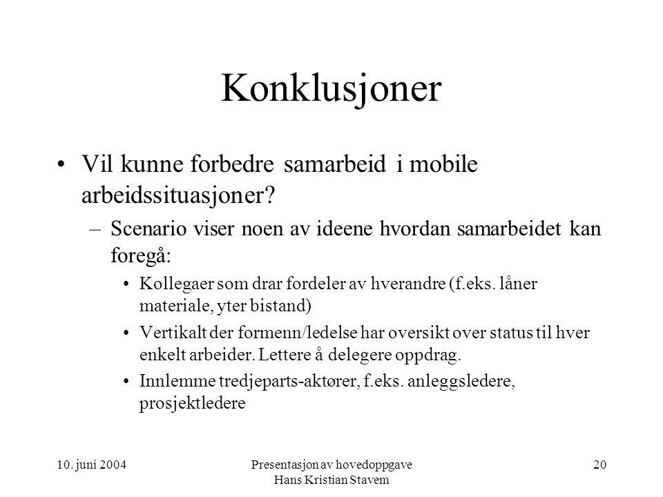 10. juni 2004Presentasjon av hovedoppgave Hans Kristian Stavem 20 Konklusjoner Vil kunne forbedre samarbeid i mobile arbeidssituasjoner? –Scenario vis