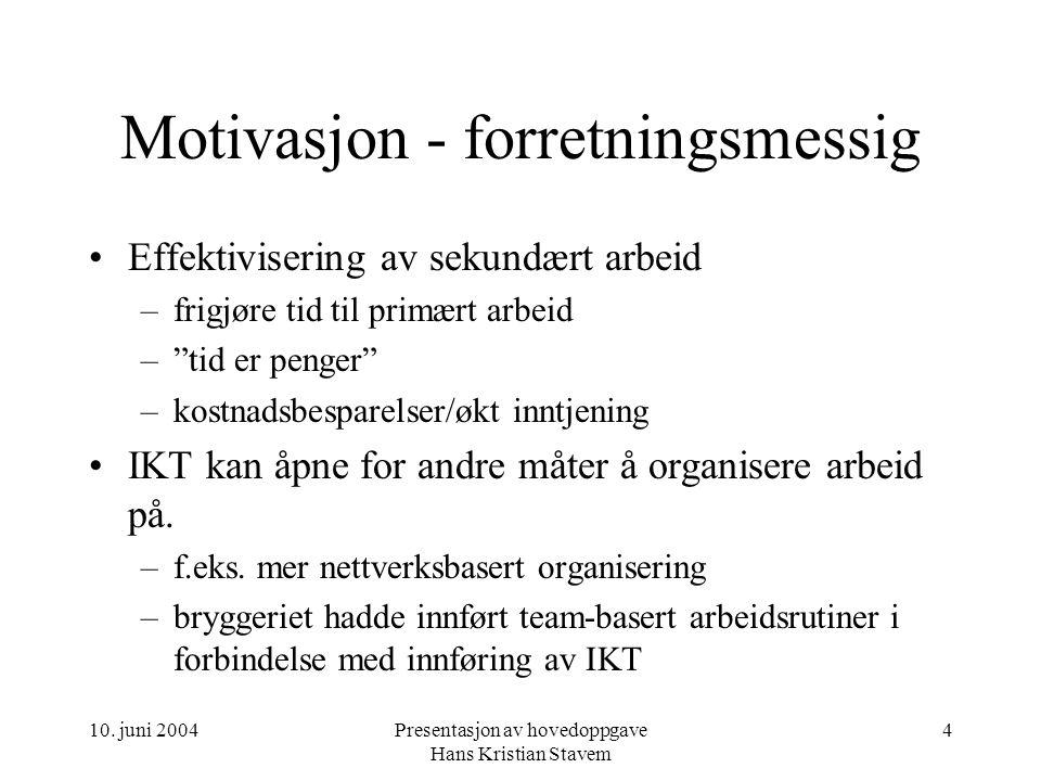 10. juni 2004Presentasjon av hovedoppgave Hans Kristian Stavem 4 Motivasjon - forretningsmessig Effektivisering av sekundært arbeid –frigjøre tid til