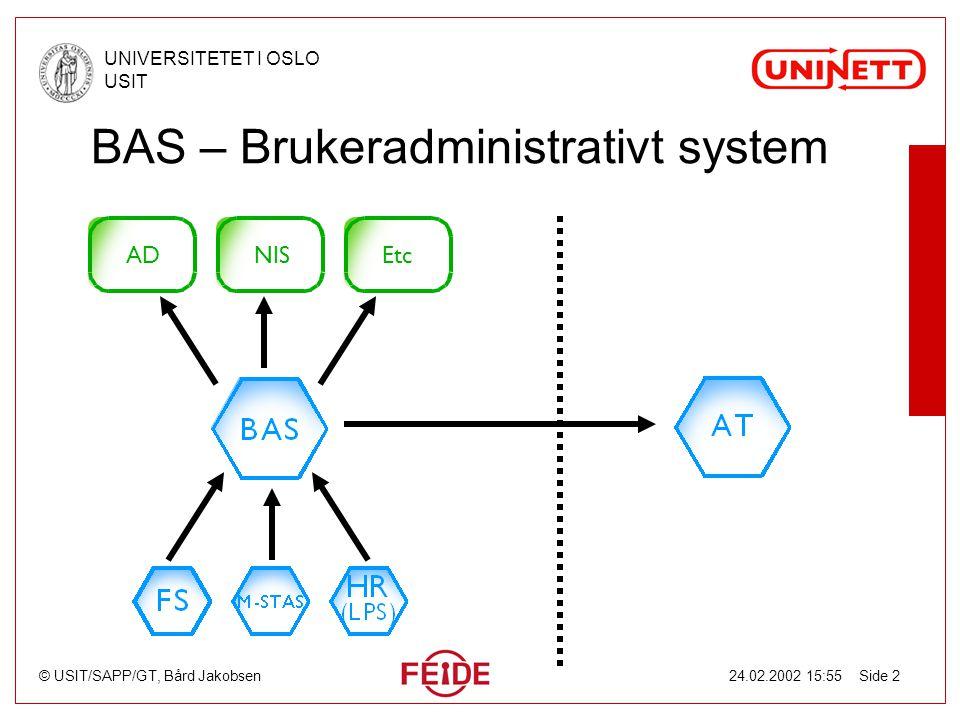 © USIT/SAPP/GT, Bård Jakobsen UNIVERSITETET I OSLO USIT 24.02.2002 15:55 Side 2 BAS – Brukeradministrativt system ADEtcNIS