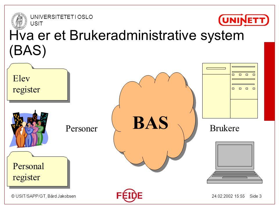 © USIT/SAPP/GT, Bård Jakobsen UNIVERSITETET I OSLO USIT 24.02.2002 15:55 Side 3 Hva er et Brukeradministrative system (BAS) Elev register Elev registe