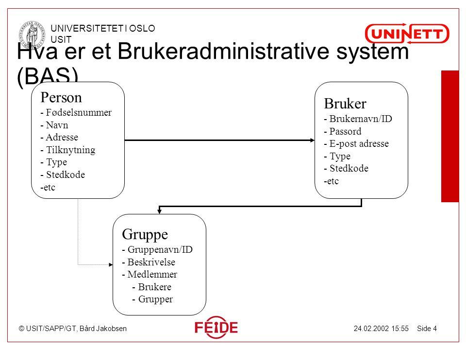 © USIT/SAPP/GT, Bård Jakobsen UNIVERSITETET I OSLO USIT 24.02.2002 15:55 Side 4 Hva er et Brukeradministrative system (BAS) Person - Fødselsnummer - N