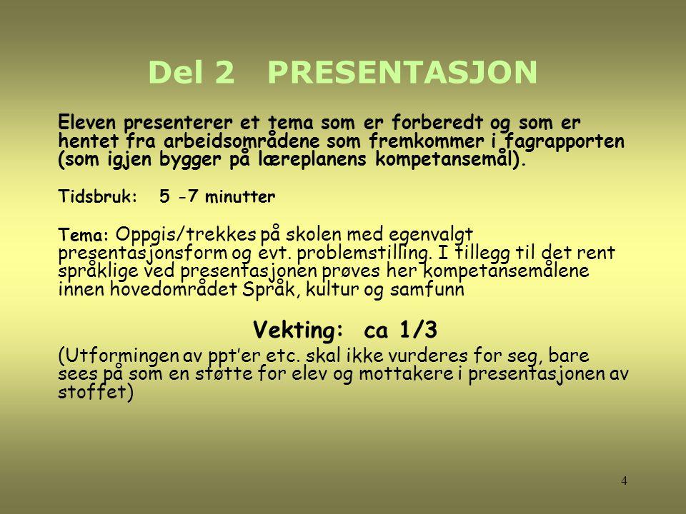 Del 2 PRESENTASJON Eleven presenterer et tema som er forberedt og som er hentet fra arbeidsområdene som fremkommer i fagrapporten (som igjen bygger på