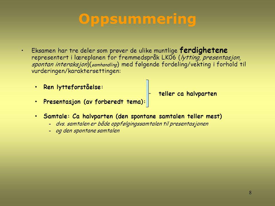 Oppsummering Eksamen har tre deler som prøver de ulike muntlige ferdighetene representert i læreplanen for fremmedspråk LK06 (lytting, presentasjon, s