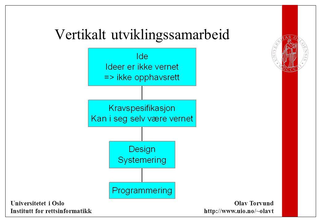 Universitetet i Oslo Institutt for rettsinformatikk Olav Torvund http://www.uio.no/~olavt Vertikalt utviklingssamarbeid