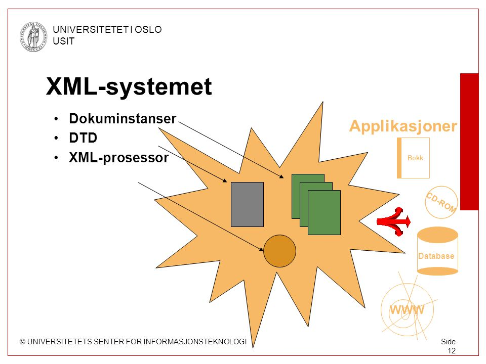 © UNIVERSITETETS SENTER FOR INFORMASJONSTEKNOLOGI UNIVERSITETET I OSLO USIT Side 12 XML-systemet Dokuminstanser DTD XML-prosessor Applikasjoner Bokk CD-ROM WWW Database