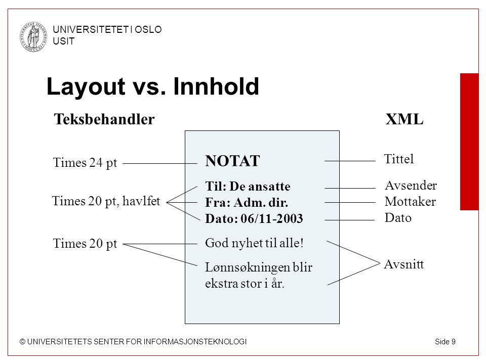 © UNIVERSITETETS SENTER FOR INFORMASJONSTEKNOLOGI UNIVERSITETET I OSLO USIT Side 9 Layout vs.