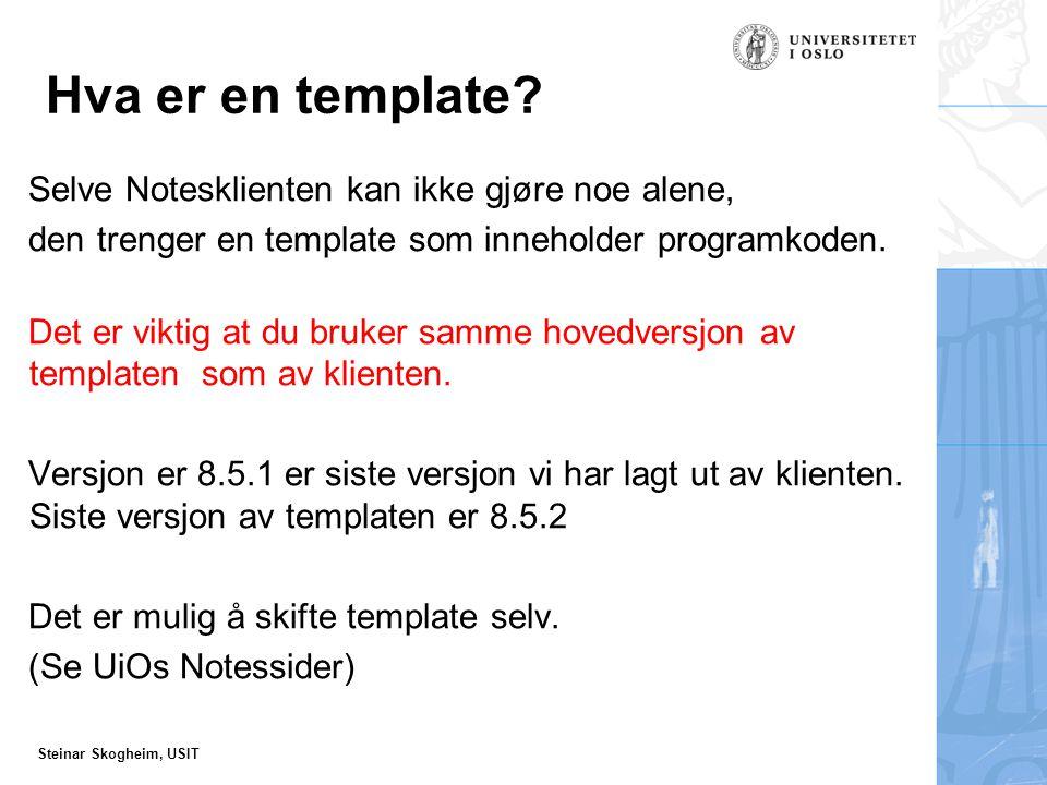 Steinar Skogheim, USIT Hva er en template.