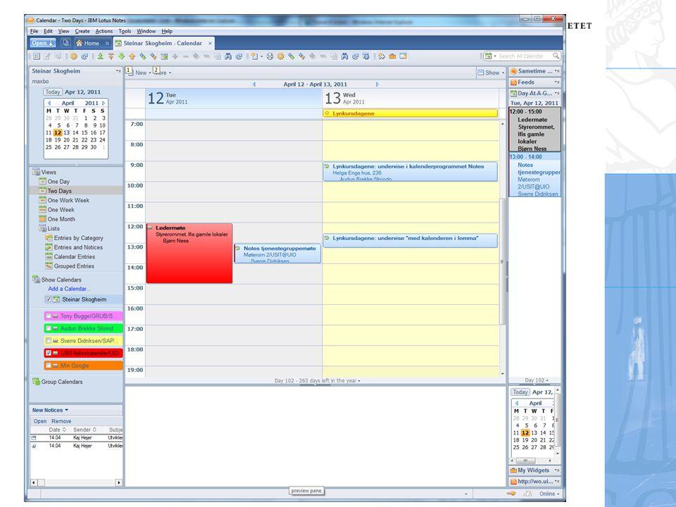 Steinar Skogheim, USIT Adressebøker i Notes Vår personlige adressebok Ligger i filen names.nsf og ligger lokalt hos brukeren på C: Contacts I iNotes heter adresseboka Contacts og ligger på serveren Disse adressebøkene kan synkroniseres