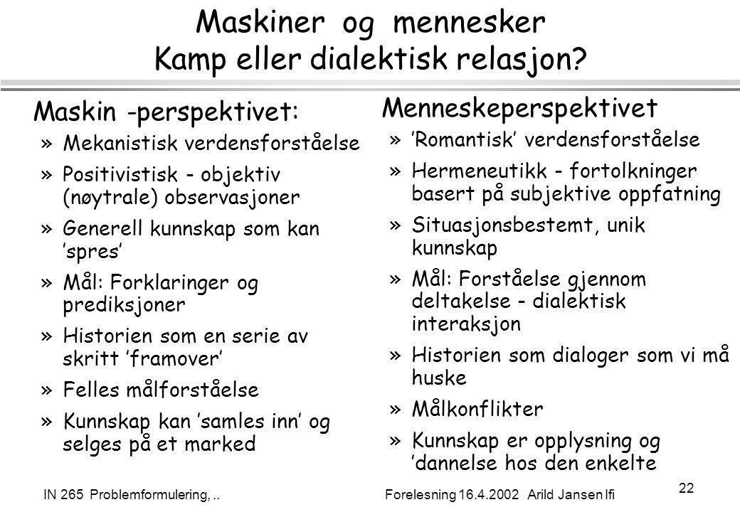 IN 265 Problemformulering,.. Forelesning 16.4.2002 Arild Jansen Ifi 22 Maskiner og mennesker Kamp eller dialektisk relasjon? Maskin -perspektivet: »Me