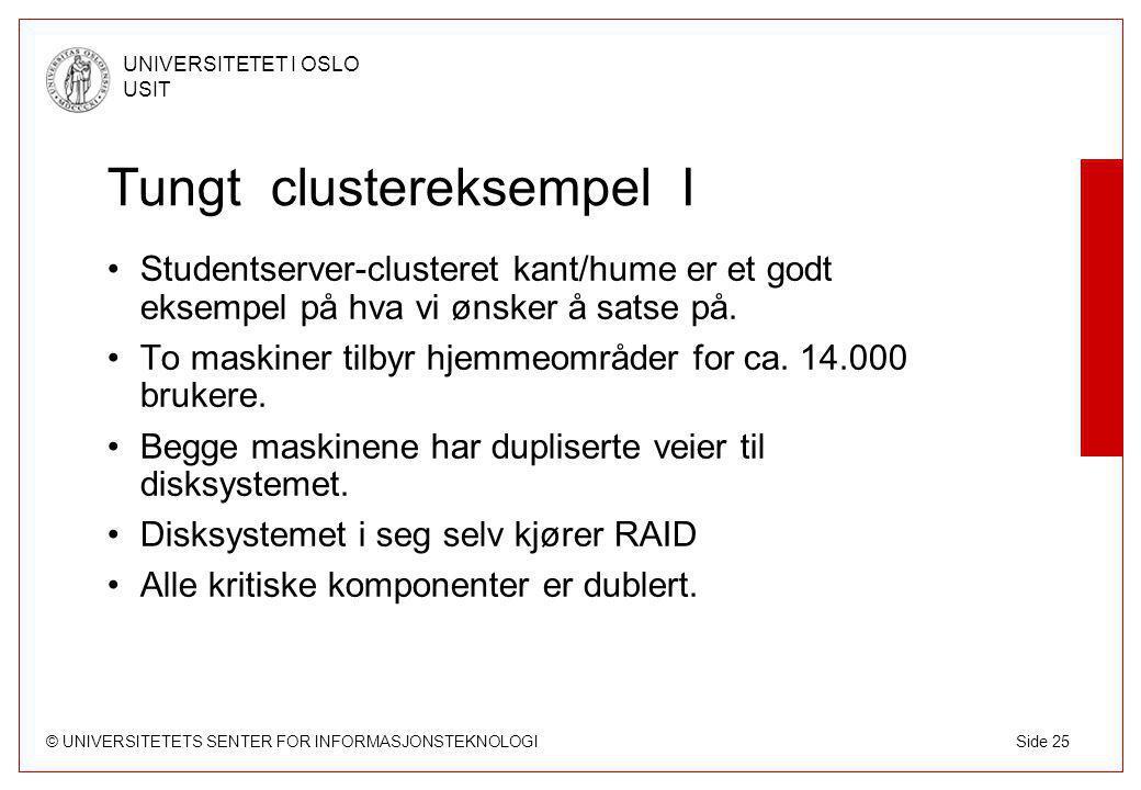 © UNIVERSITETETS SENTER FOR INFORMASJONSTEKNOLOGI UNIVERSITETET I OSLO USIT Side 25 Tungt clustereksempel I Studentserver-clusteret kant/hume er et godt eksempel på hva vi ønsker å satse på.