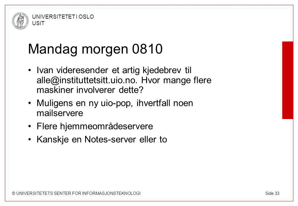 © UNIVERSITETETS SENTER FOR INFORMASJONSTEKNOLOGI UNIVERSITETET I OSLO USIT Side 33 Mandag morgen 0810 Ivan videresender et artig kjedebrev til alle@instituttetsitt.uio.no.