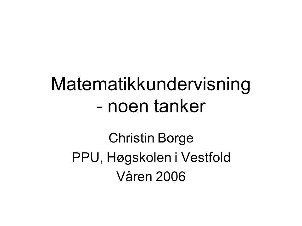 Matematikkundervisning - noen tanker Christin Borge PPU, Høgskolen i Vestfold Våren 2006