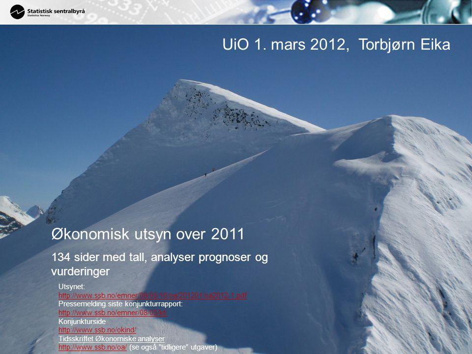 2 Økonomisk utsyn og Konjunkturtendensene februar 2012 Økonomiske analyser 1/2012 Perspektiver –Oljepengebruk ned mot 2 pst.