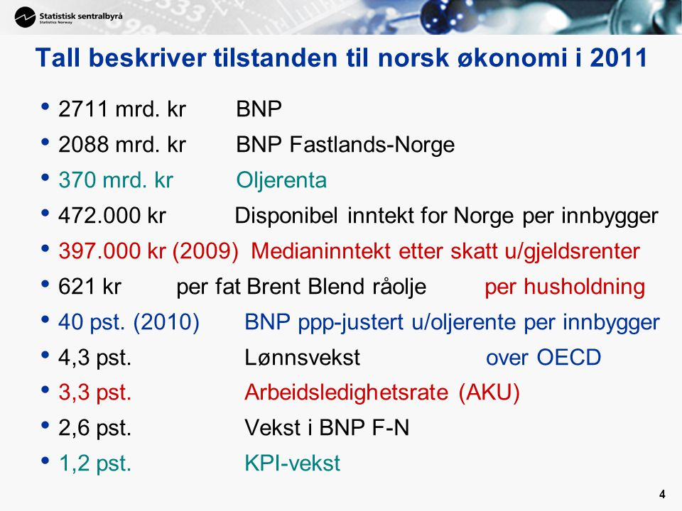 5 De første nasjonalregnskapstallene for hele 2011: 2011: BNP Fastlands-Norge opp med 2,6 prosent og BNP totalt med 1,6 prosent –4.